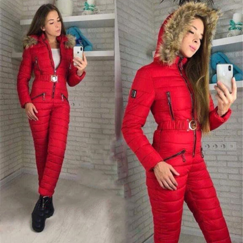 Winter Women One Piece Ski Suit Breathable Windproof Hooded Snowboard Jacket Skiing Pant Sets Bodysuit Outdoor Snow Suits Russia