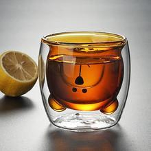 250 мл в форме медведя с двойными стенками прозрачная стеклянная чашка термостойкие бокалы для вина es пиво, кофе, чай, чашка для молока, кружка для ВАСО