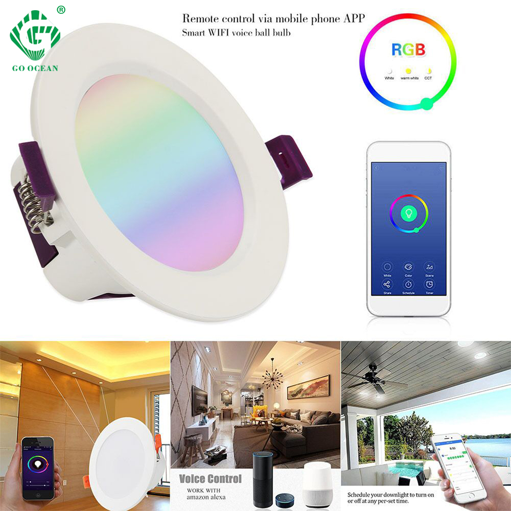 Inteligente Sensor Inteligente de Controle Remoto LEVOU Downlight Teto Para Baixo Luzes Embutidas Com Amazon Alexa Cor De Controle Ajustável