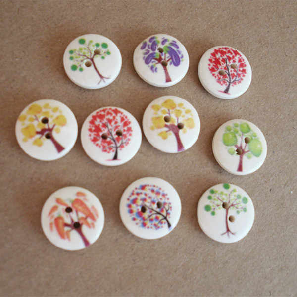 10pcs New Handmade DIY painted round wooden buttons Clothing accessories diameter 15MM buttons decorative  buttons for clothing