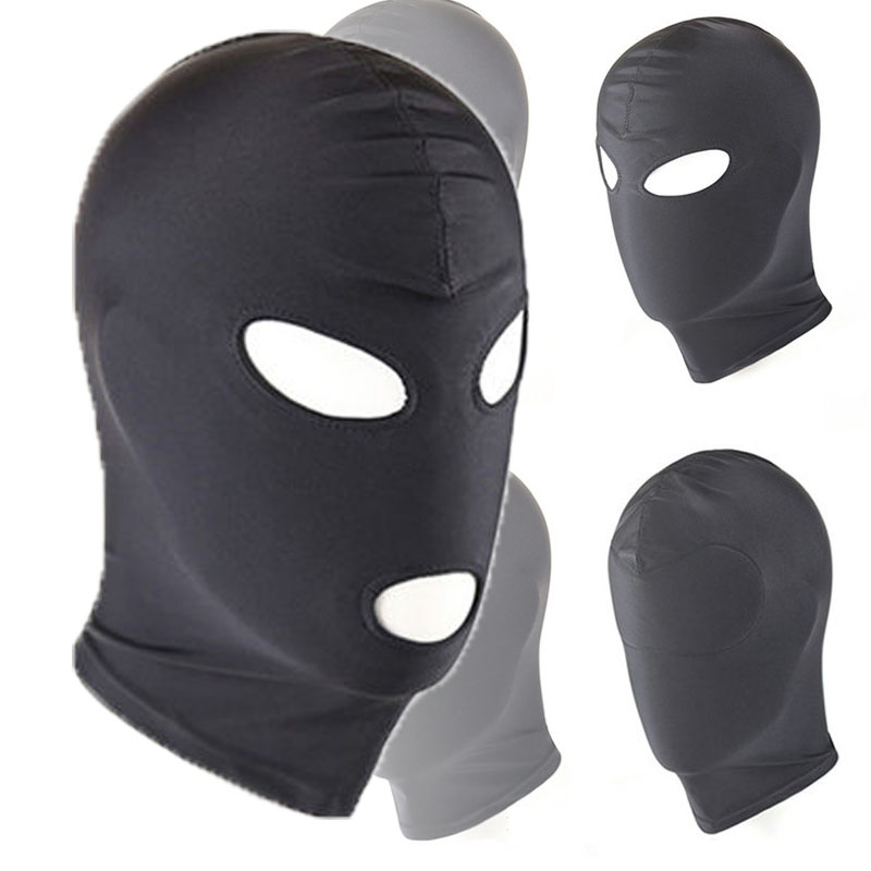 Sexy High Elastic Latex Hood Black Mask 4 Tyles Breathable Headpiece Fetish BDSM Adult For Party