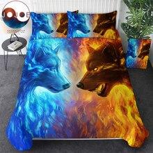 Jojoesart寝具セットクイーン 3D枕アイス火オオカミベッドセットセット 3 の高級布団カバーホームテキスタイル