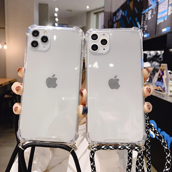 Pasek przewód łańcuch przezroczysty futerał na telefon dla iPhone 11 11 Pro XS Max XR X 7 8 6 6s Plus Carry naszyjnik smycz jasne okładki tanie i dobre opinie TIKITAKA CN (pochodzenie) Etui z klapką Transparent mobile phone case + lanyard Apple iphone ów Iphone 6 Iphone 6 plus