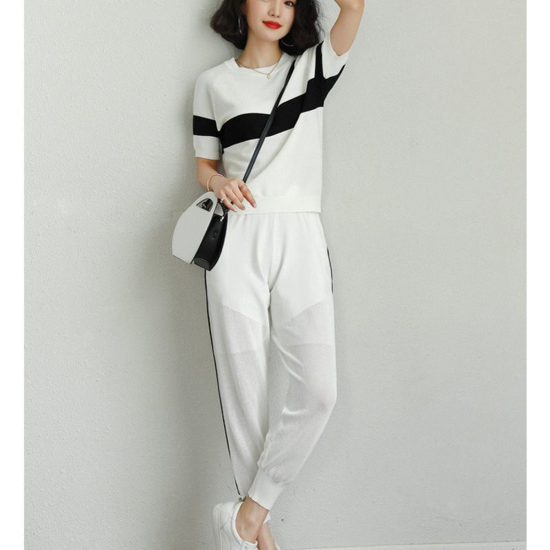 Knitted Casual Sports Clothing WOMEN'S Suit Summer Fashion Goddess-Style Slimming Western Style Two-Piece Set European Goods Tre