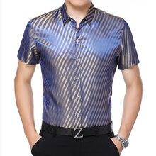 Silk Shirts Large-Dresses Clothing Social Blue Stripe Elegant Mens Plus-Sizes Summer