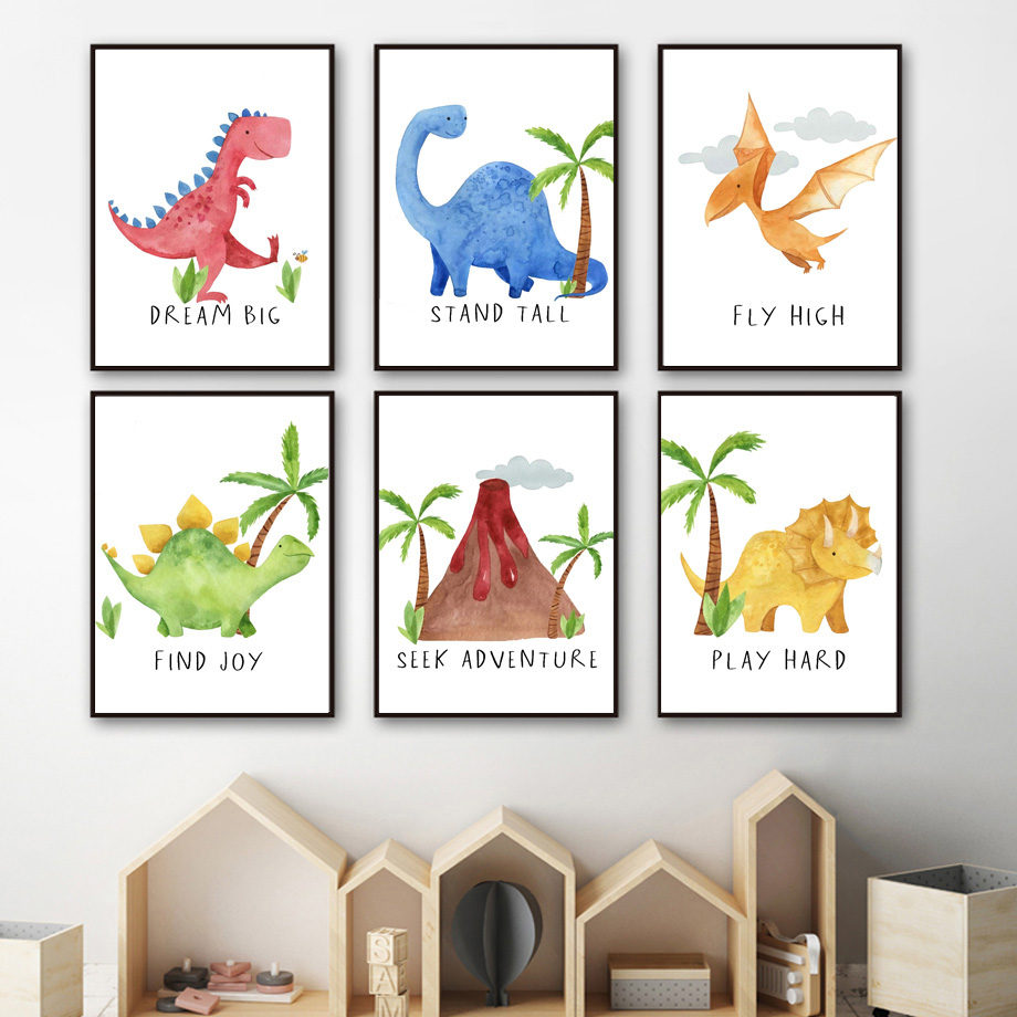 Stegosaurus Triceratops Tyrannosaurus Dinosaur Wall Art Canvas Painting Nordic Posters And Prints Wall Pictures Kids Room Decor Painting Calligraphy Aliexpress