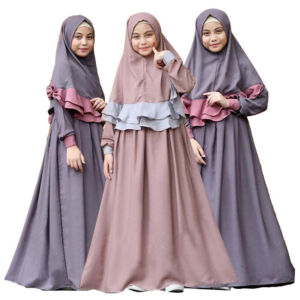 2PCS Arab Girls Long Sleeve Maxi Dress Hijab Set Muslim Kids Prayer Abaya Jilbab Islamic Party Gown Clothing Suit Middle East