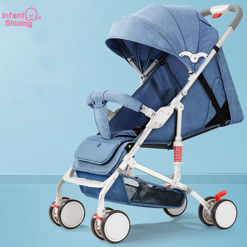 Infant Shining Baby Stroller Four Wheels Travel Stroller Baby Carriage Bassinet Lightweight Folding Hot Mom Strolle