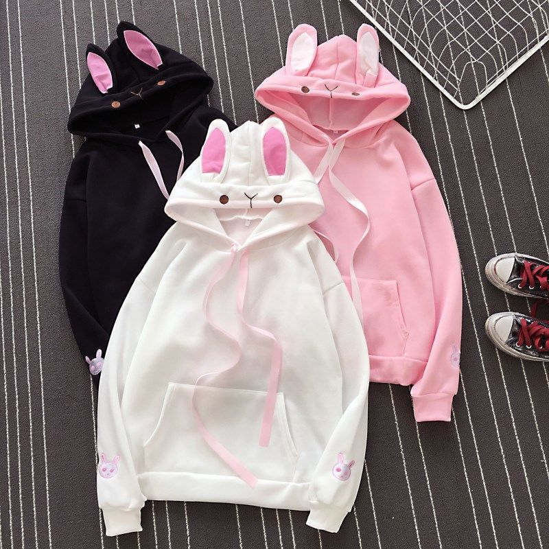 Hoodie Long Sleeve Lovely Female Rabbit Hooded Sweatshirts Girl Women Fashion Cute Bunny Casual Loose Size Lovely Cotton Hoodies
