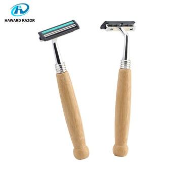 HAWARD Razor Eco Friendly Bamboo Handle Twin Blade Razor Hair Removal Travel Razor Replaceable Razor Head Blade Cartridge 2