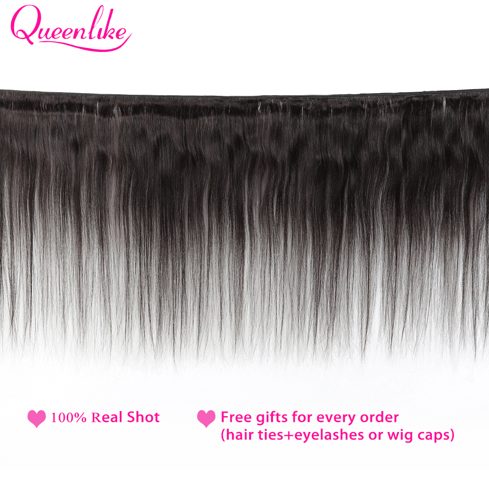 Queenlike 100% Human Hair Weave Bundles With Closure Non Remy Hair Weft 3 4 Bundles Brazilian Straight Hair Bundles With Closure