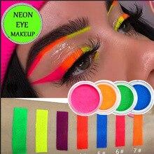 7 цветов неоновая пудра, тени для век, пигмент, матовая Минеральная Пудра для ногтей, косметический набор, макияж, мерцающие Сияющие тени для век