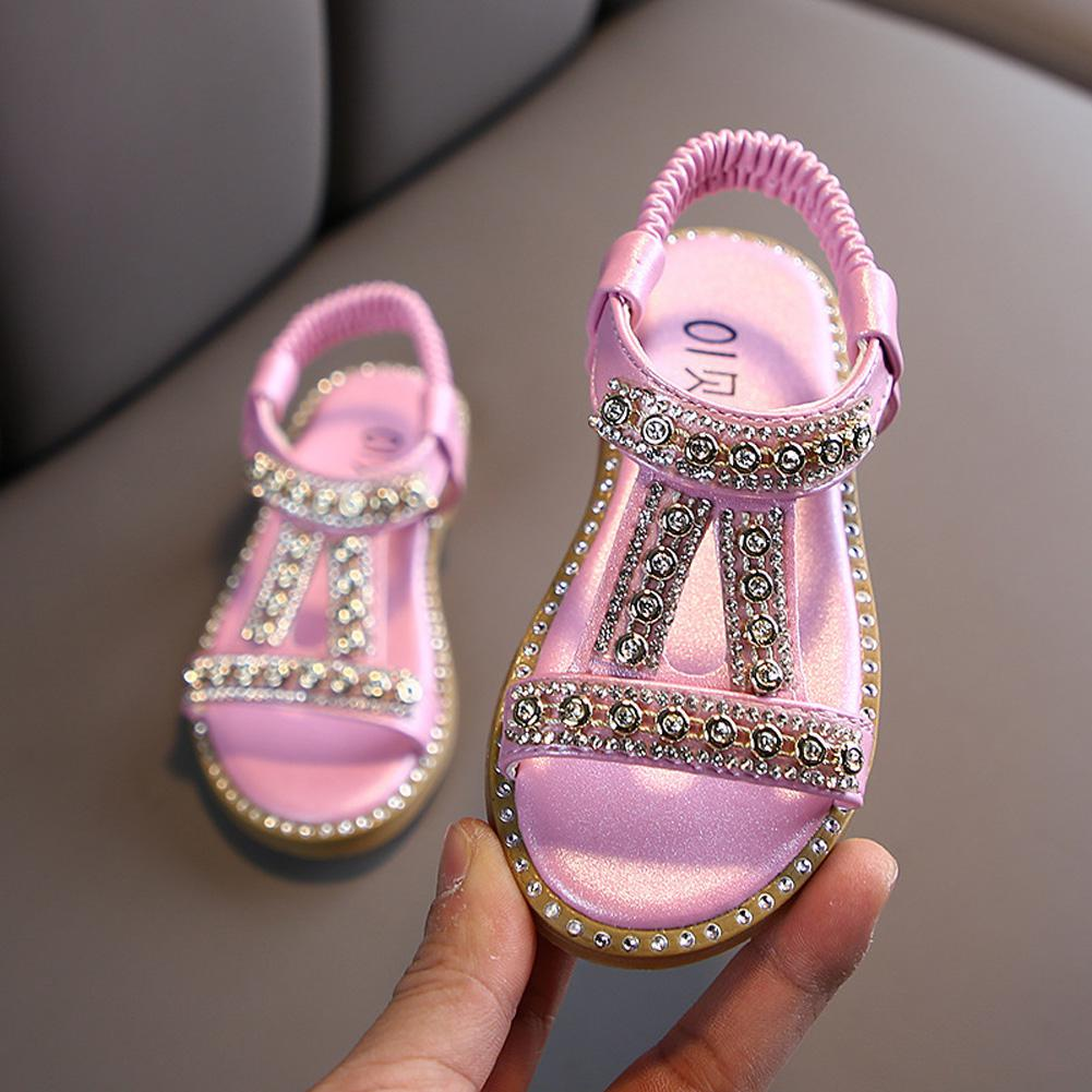 GloryStar Girl Baby Sandals Rhinestone Non-slip Soft Sole PU Leather Princess Beach Shoes for 1-3Y