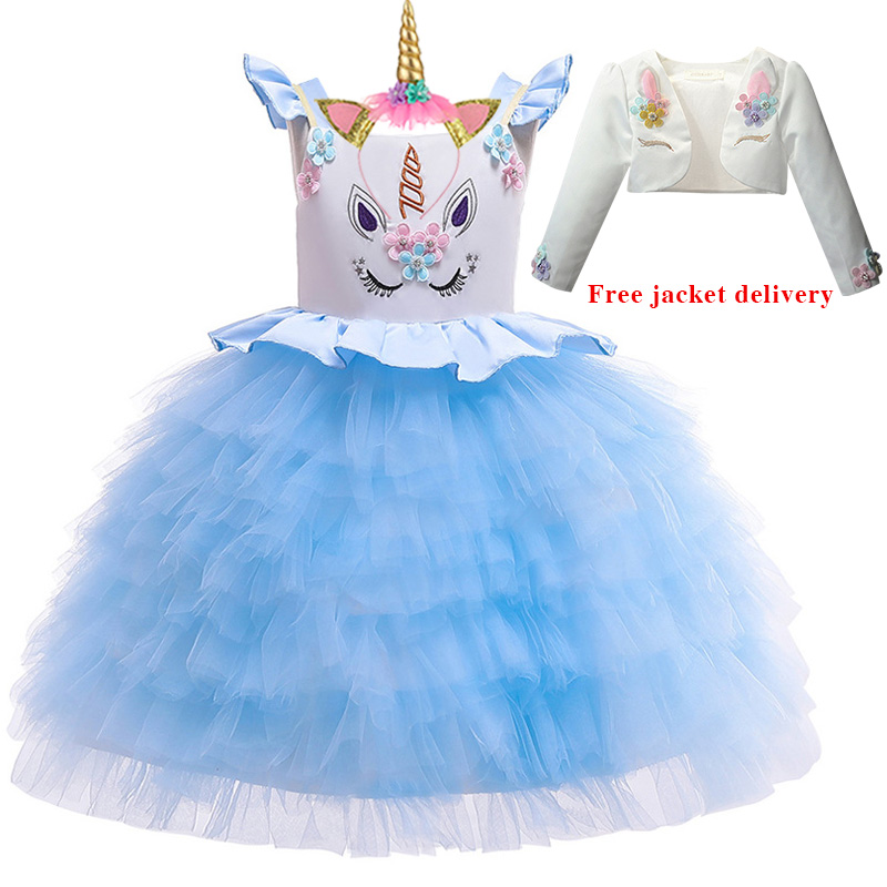 H65a441dce8cb4a7da756c630bd6bd32dl New Unicorn Dress for Girls Embroidery Ball Gown Baby Girl Princess Birthday Dresses for Party Costumes Children Clothing