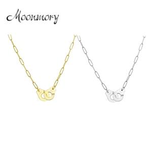 Image 1 - Moonmory S925 Sterling Silber Handschellen Anhänger & Halskette Für Frauen Silber Kette Handschellen Halskette Weiß Menottes Großhandel