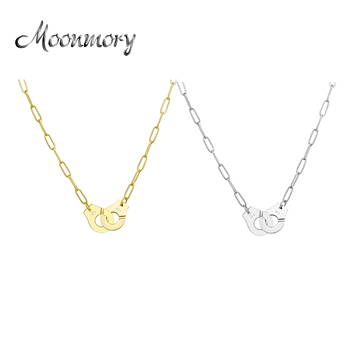 Moonmory S925 Sterling Silver Handcuff Pendant & Necklace For Women Silver Chain Handcuff Necklace White Menottes Wholesale silverhoo aurora pendant necklace halo crystal gem s925 sterling silver fashion necklace women s elegant engagement