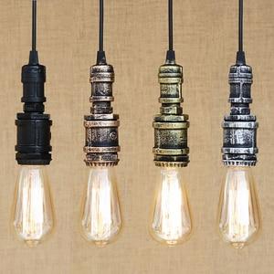 Image 3 - Loft industrial Iron water Pipe steam punk Vintage pendant lamp cord E27 led pendant lights for bedroom bar restaurant kitchen