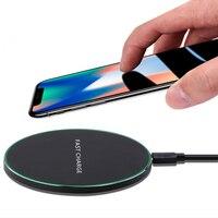 Qi carregador sem fio 10 w qc 3.0 telefone rápido carregador estável para iphone samsung xiaomi huawei etc sem fio usb carregador almofada pk aukey