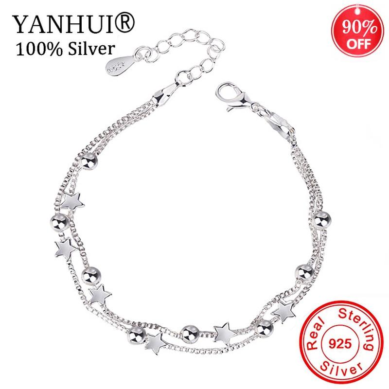 100% Original 925 Sterling Silver Bracelets Double Layered Stars Beads Chian Bracelets & Bangles For Women Girls Wedding Jewelry