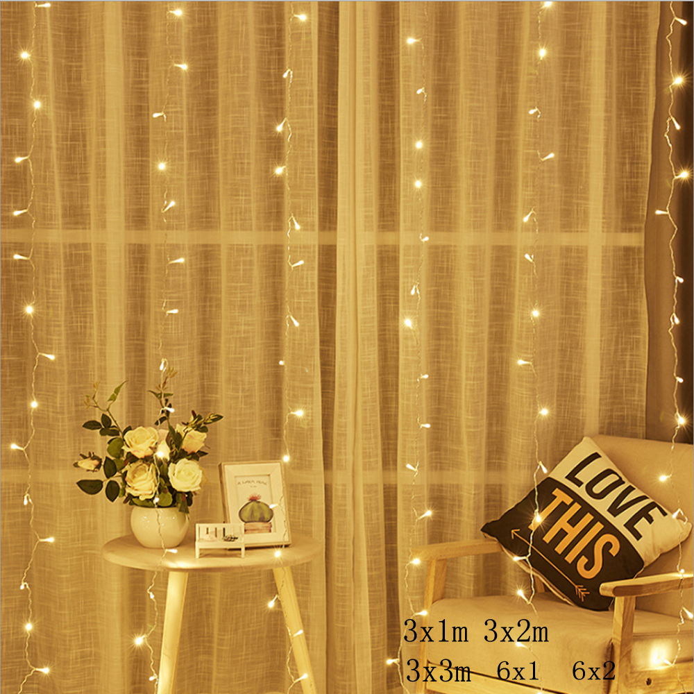 3x2/3x3/6x2m 300 LED Icicle Fairy String Lights Christmas Led Wedding Party Fairy Lights Garland Outdoor Curtain Garden Decor
