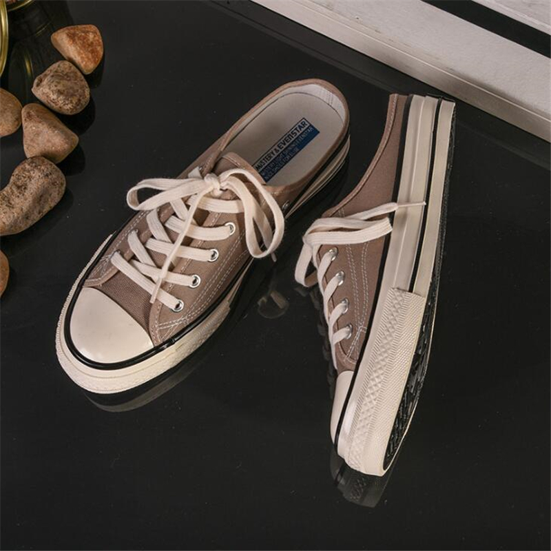 Canvas Shoes Men Spring Summer Slip On Mules Flat Heel Casual Shoes Candy Color Male Sneakers Solid Trainers Couples Shoes