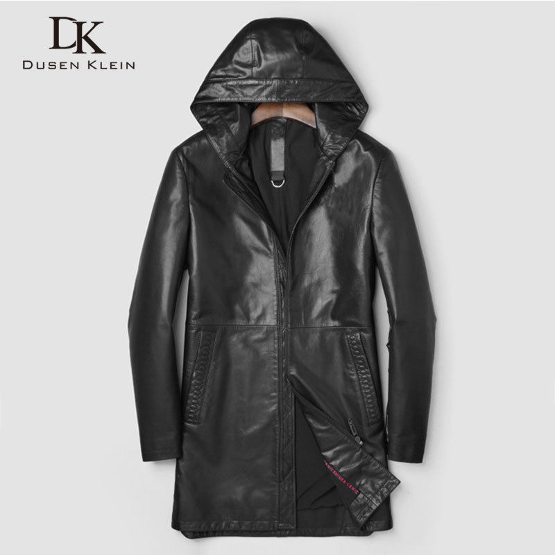 Men's Genuine Leather Jackets And Coats Sheepskin Hooded Outerwear Long  New Autumn Designer Brand Jacket For Man J0