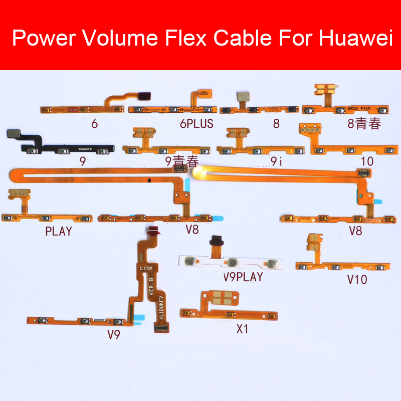 Power&Volume Flex Cable For Huawei Honor 6 7 7i 8 8x 9 9i 10 20 20i Pro Plus Lite MAX Power Volume Switch Control Button Parts