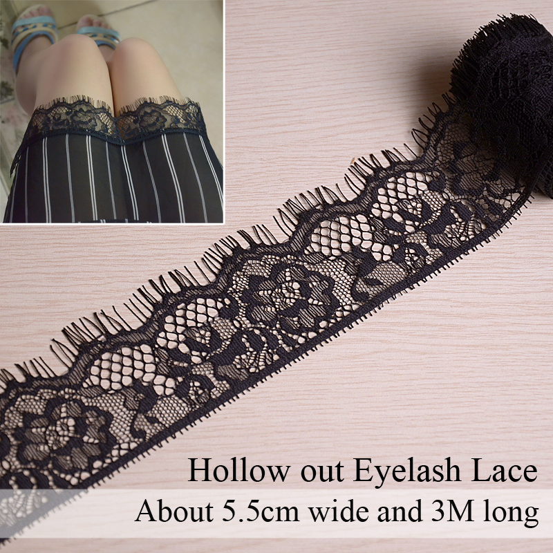 3Meters 5.5cm Hollow Out Embroidered Eyelash Lace Trim Flower Ribbon DIY SewingDress Edge Wrapping Fabric Applique Decorations