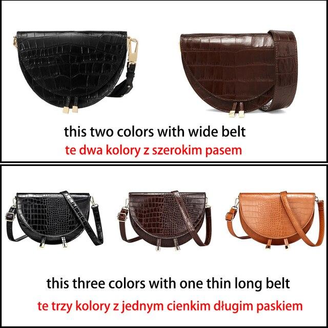 Crocodile Pattern Crossbody Bags for Women Half Round Messenger Bag Pu Leather Luxury Handbags Women Bags Designer Shoulder Bag 5
