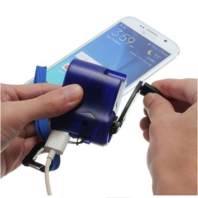 EDC USB Phone Emergency Charger camping equipment Hiking Outdoor Sports Hand Crank Travel Charger Survival Tools