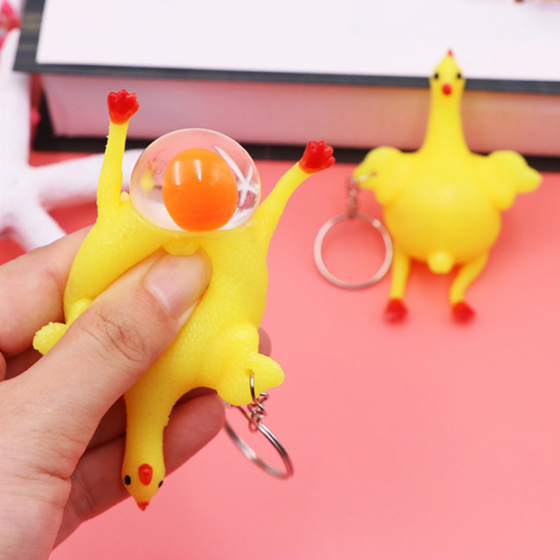 Купить с кэшбэком Novelty Squishy Toy ANTI STRESS Squeeze TOY Autism Mood Relief Chicken And Egg Laying Hens Key Chain Pendant Spoof Tricky Gift