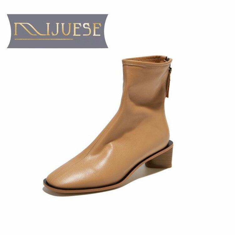 Mljuese 2020 여성 발목 부츠 암소 가죽 겨울 짧은 플러시 지퍼 라운드 발가락 블랙 컬러 하이힐 여성 부츠 파티 드레스-에서앵클 부츠부터 신발 의  그룹 2