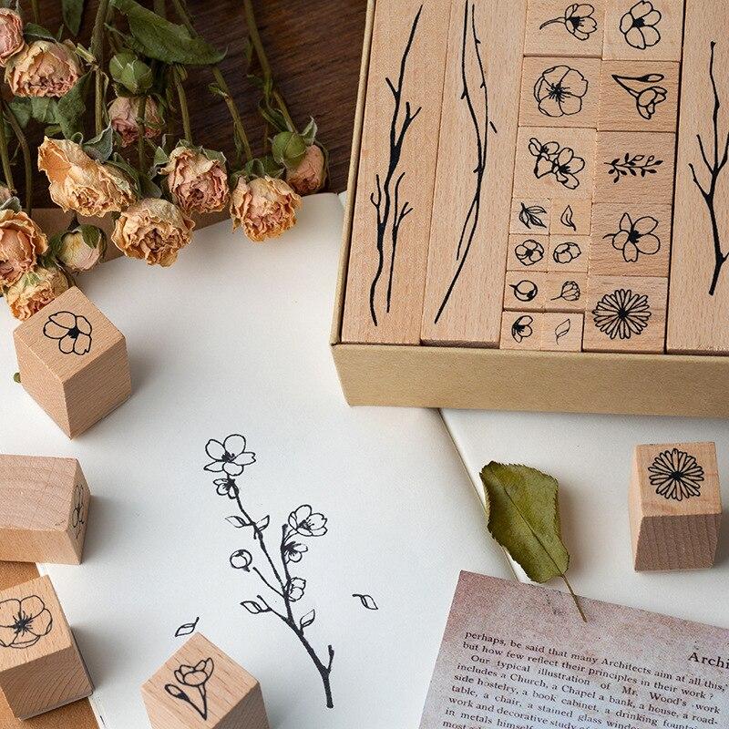 20 Pcs/lot Vintage Flowers Branch Decoration Stamp Wooden Rubber Stamps For Scrapbooking Stationery DIY Craft Standard Stamp