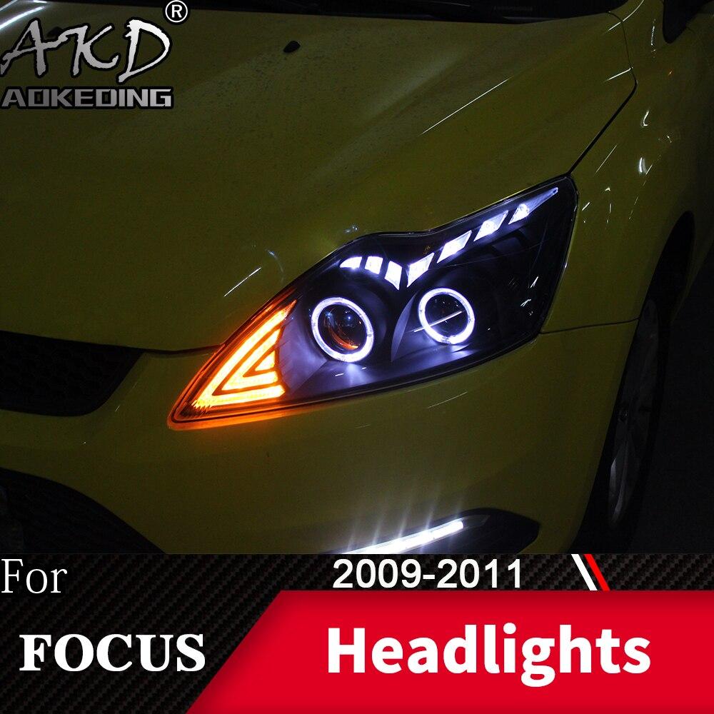 Head Lamp For Car Ford Focus 2009-2011 Focus 2 Headlights Fog Lights Day Running Light DRL H7 LED Bi Xenon Bulb Car Accessory