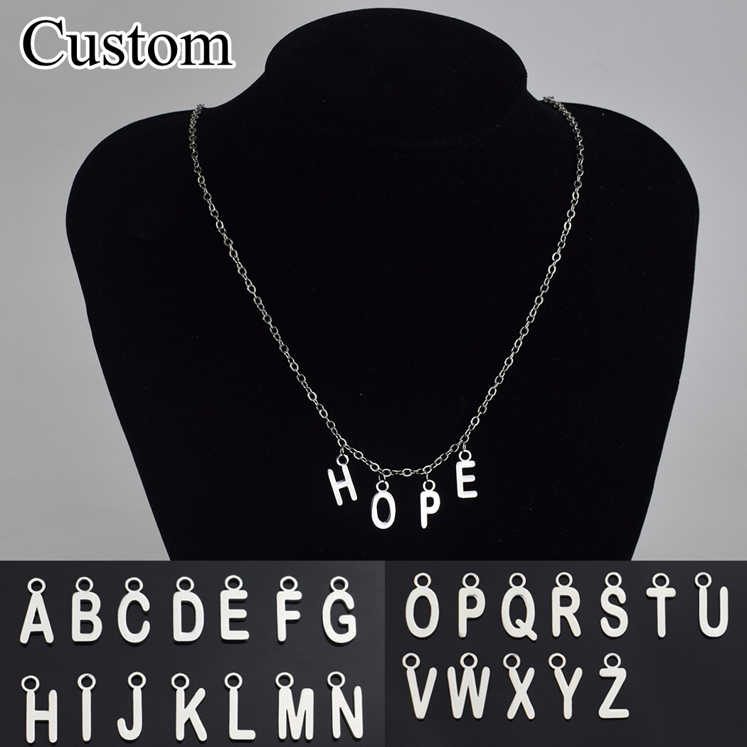 Custom 26 English Letters Pendant Necklace Customize Your Name Simple Words Chain Necklace( Tell Me Your Personalized Letters)