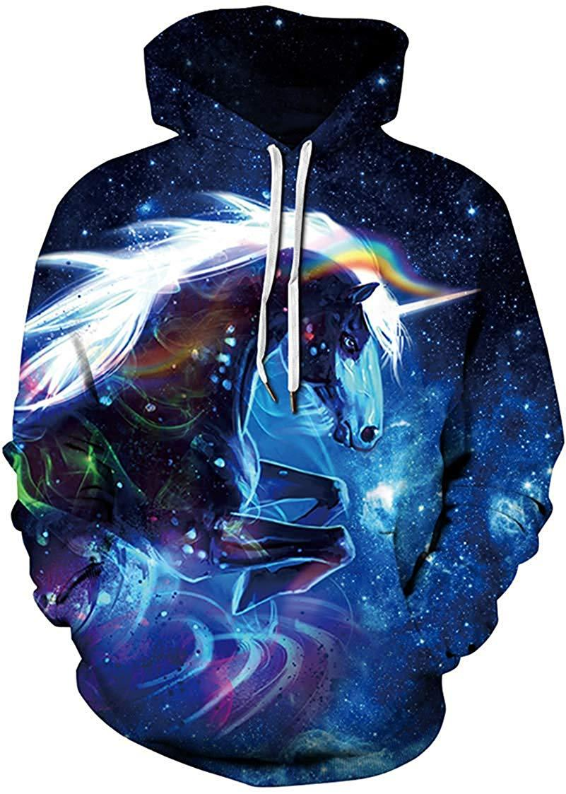 Pandolah SKY Horse Women's 3D Pattern Printed Sports Sweater Fashion Hoodie Sports Shirt Men's