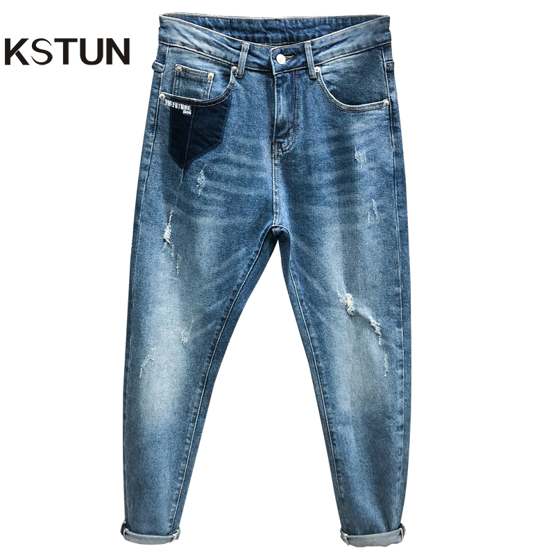 KSTUN Ripped Jeans For Men Light Blue 100% Cotton Loose Fit  Distressed Baggy Legs Streetwear Hiphop Biker Jeans Patched Cowboys