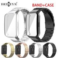 Roestvrij Stalen Band + Horloge Case Voor Huawei Honor 6 Smart Horlogeband Armband Vervanging Metal Polsband Voor Huawei Band 6/6 pro