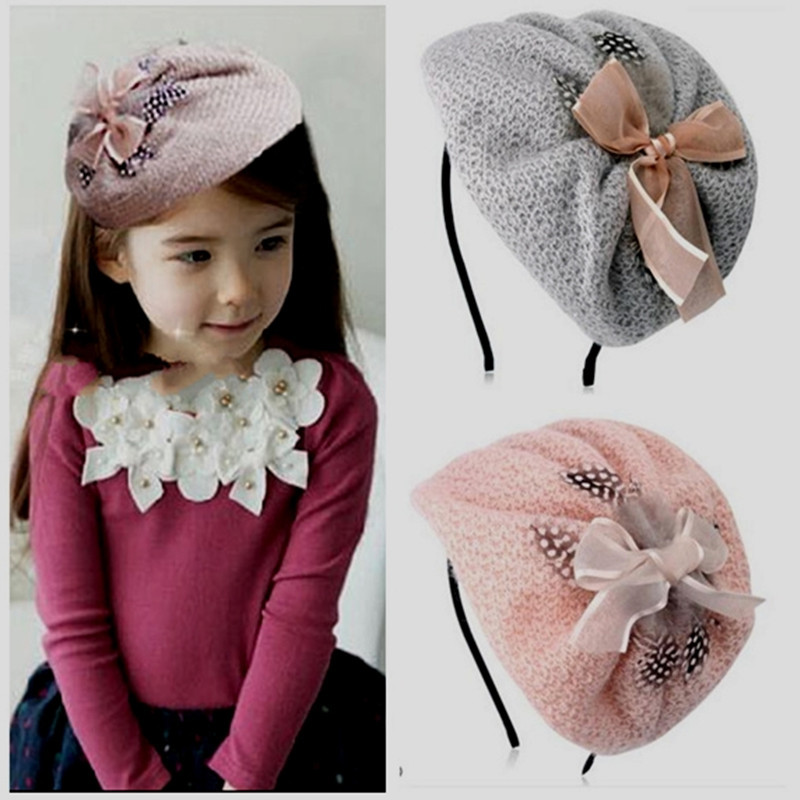 Free shipping fashion bow Children's Beret hairbands girl's Fascinator headbands kid's hats   headwear
