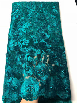 New Coming Embroidery Tulle Lace Fabric French Net Lace Fabric With Beads For Lady Dress QN138(5Yards/Lot)