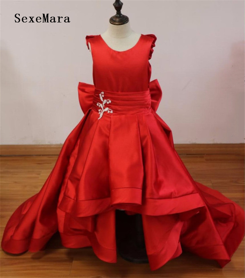 Real Photo Fancy Puffy Red Satin Pageant Dresses For Girls Long Kids Vestido De Tulle Flower Girl Dresses For Wedding