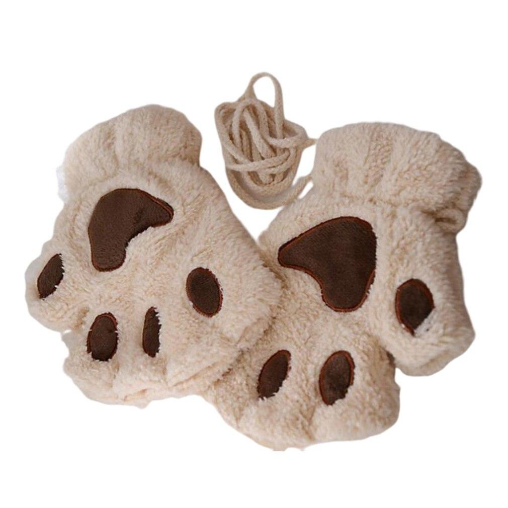 Warmth Fingerless Plush Gloves Fluffy Bearr Claw / Cat Animal Paw Soft Warm Lovely Cute Half Finger Covered Gloves For Girls