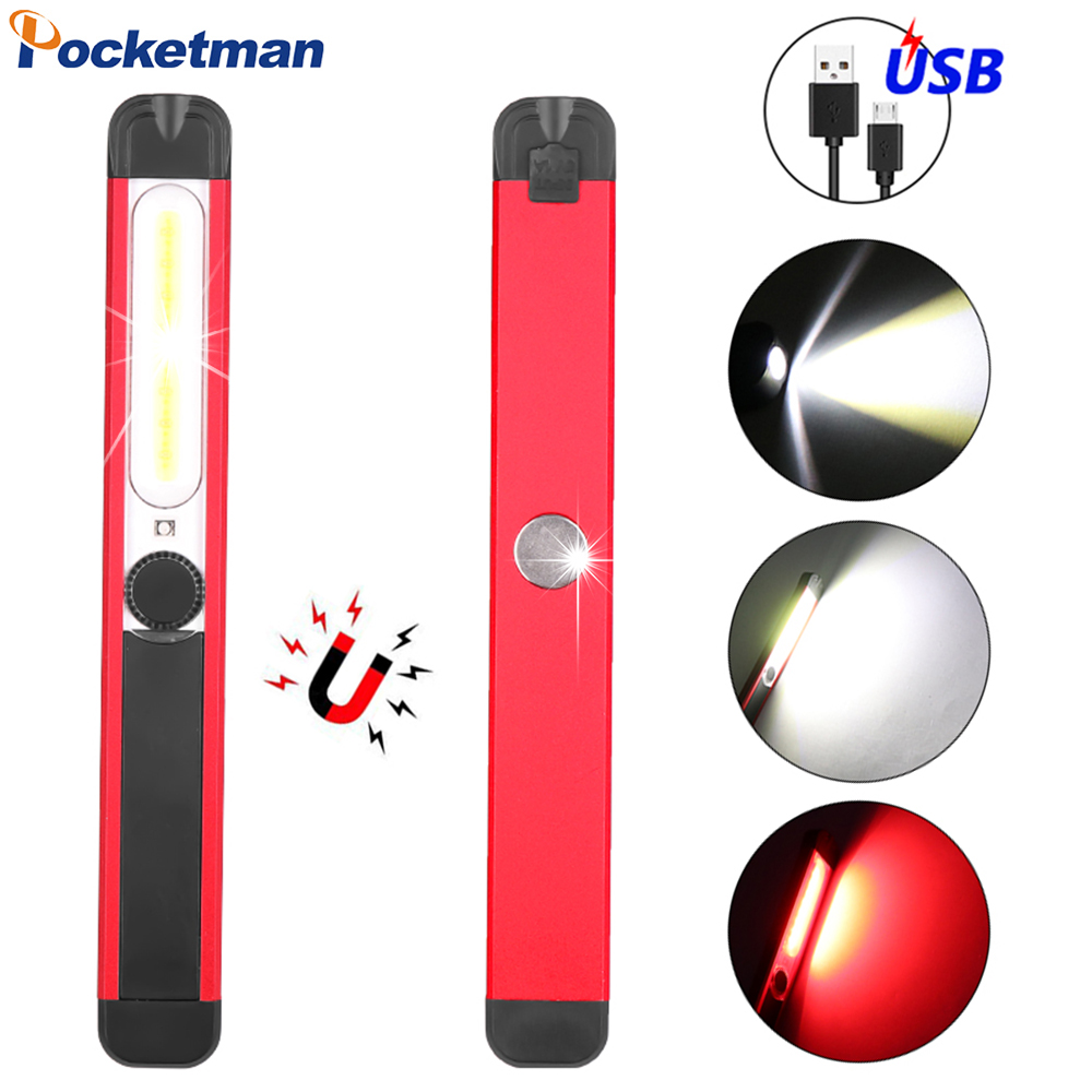 Portable Work Lamp COB LED Work Light Magnetic Flashlight USB Rechargeable Inspection Light With Warning Light Red/White Light