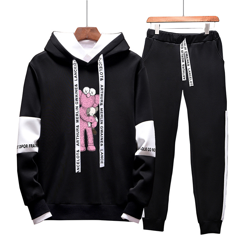 Men's Autumn And Winter Sports Set Boy Trend Korean-style Handsome Hoodie Two-Piece Set Teenager Trousers A Set