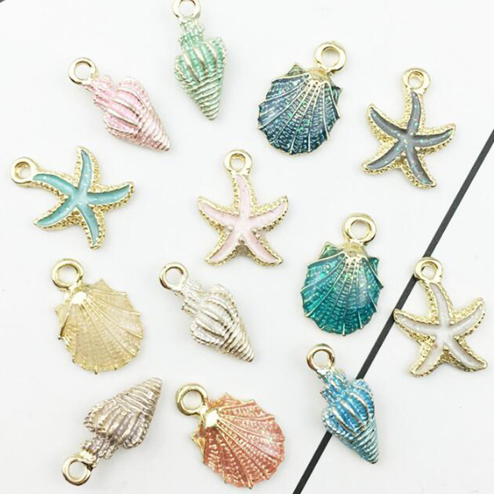 Sale 13 Pcs/Set Jewelry Drop Oil Conch Starfish Sea Shell Alloy Pendant DIY Bracelet Earrings Making Handmade Accessories