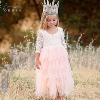 3-8years Real Photo Ball Gown Long Sleeve Lace Flower Girl Dress For Weddings Cute Ivory kids Party Gowns With Appliques mint green flower girl dress for weddings tulle with lace open back ball gown