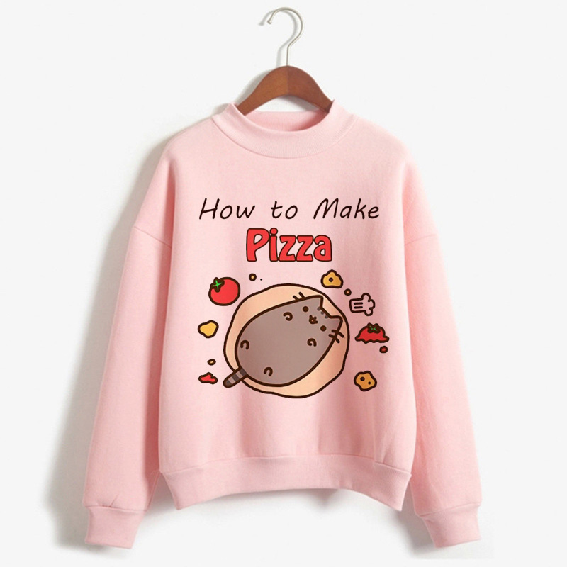 Kawaii Pusheen Cat Harajuku Funny Cartoon Hoodies Women Ullzang Cute Korean Style Autumn Winter Sweatshirt 90s Warm Hoody Female