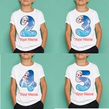 Crianças elsa imprimir o-pescoço moda t camisa número de aniversário t camisa máscaras das crianças presente de aniversário, dropshipping