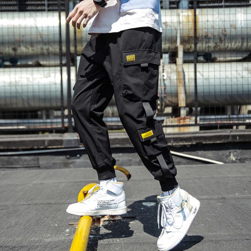 2019 Spring Hip Hop Joggers Men Black Harem Pants Multi-pocket Ribbons Man Sweatpants Streetwear Casual Mens Pants M-3XL