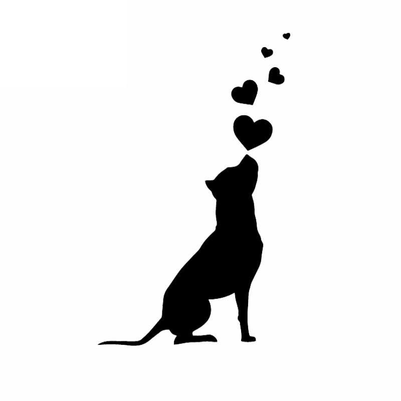 10CMX16CM KK Vinyl Decal Dog Hearts Pet American Staffordshire Terrier Car Stickers Black/Silver Car Accessories